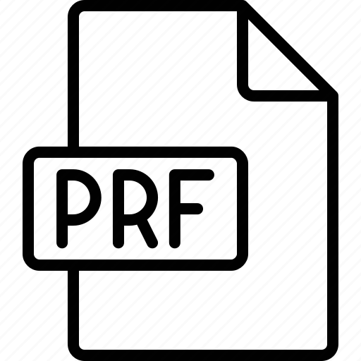 document, extension, file, format, prf icon