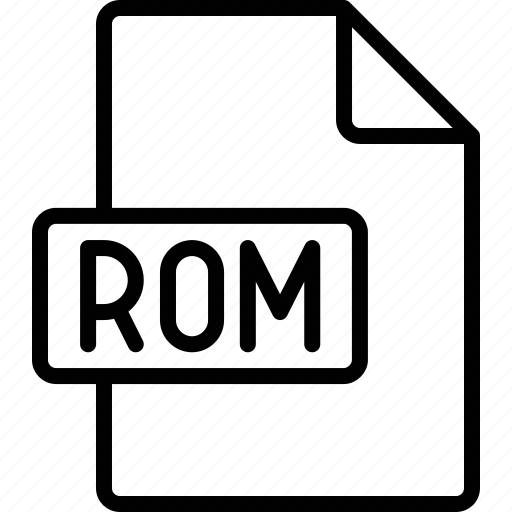 document, extension, file, format, rom icon