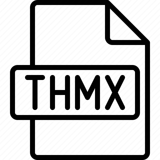 document, extension, file, format, thmx icon