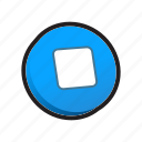 buttons, player, stop icon