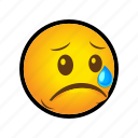 crying, emoticon, sad icon