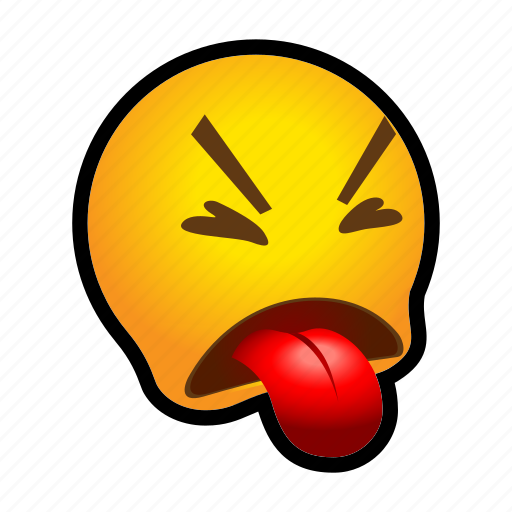 disgust, emoticon, tongue icon