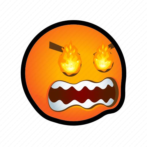 angry, blazing, emoticon, eyes icon