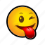 around, emoticon, fooling, smile, tongue icon