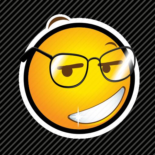 emoticon, glasses, smile icon