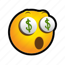 emoticon, money, surprised, yieks icon