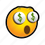 emoticon, money, surprised, yieks icon