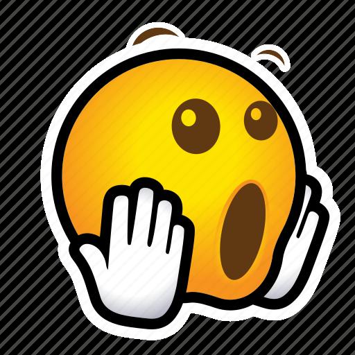 emoticon, surprised, yieks icon
