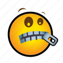 emoticon, silence, zipper icon