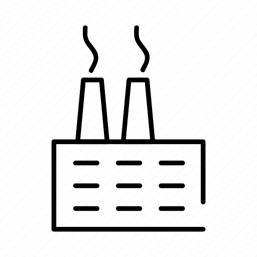 building, factory, industrial, industry, manufacture, plant, smoke icon