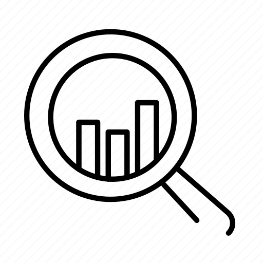magnifier, magnify, quantitative, research, search, statistics, zoom icon