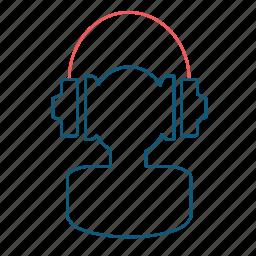 headphones, listenig, man, media, music, player, user icon