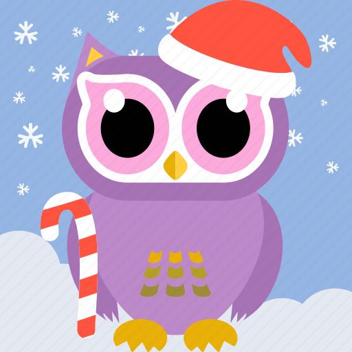 animal, bird, celebration, christmas, fowl, owl, party icon