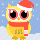 animal, bird, celebration, christmas, cute, fowl, owl icon