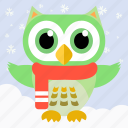 animal, bird, celebration, christmas, fowl, owl, party