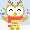 bird, celebration, christmas, cute, fowl, owl, party icon