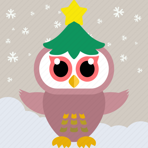animal, bird, celebration, christmas, fowl, owl, party icon
