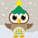 bird, celebration, christmas, cute owl, fowl, owl, party icon