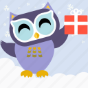 bird, celebration, christmas, cute, fowl, gift, owl icon