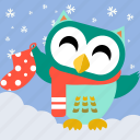 animal, bird, celebration, christmas, cute, fowl, owl