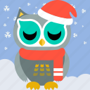 bird, celebration, christmas, cute, fowl, owl, party