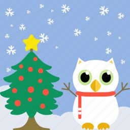 bird, celebration, christmas, fowl, owl, pine, tree icon