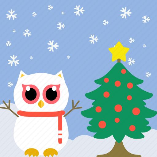 celebration, christmas, cute, fowl, owl, pine, tree icon