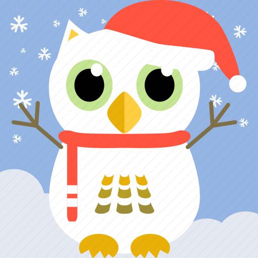 bird, celebration, christmas, cute, fowl, owl, party icon