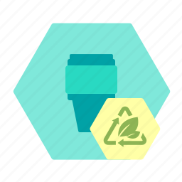 bioplast, coffee, cup, packaging, sustainable icon