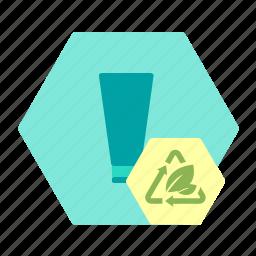 bioplast, cosmetics, packaging, sustainable, tube icon