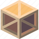 isometric, braced, crate, shipping, packing, iso icon