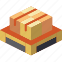 isometric, iso, packing, shipping, pallette icon