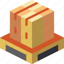 isometric, iso, packing, shipping, pallette