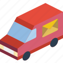 devliery, iso, isometric, packing, shipping, truck icon