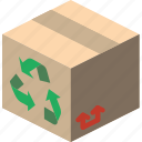 box, iso, isometric, packing, recycled, shipping icon