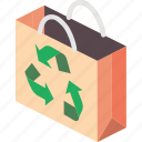 isometric, bag, shipping, recycled, packing, iso icon