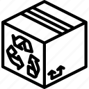 box, iso, isometric, packing, recycled, shipping