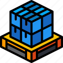 iso, isometric, packing, pallette, shipping icon