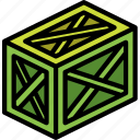 braced, iso, isometric, long, packing, shipping icon