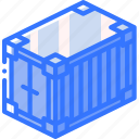 container, isometric, iso, packing, shipping icon