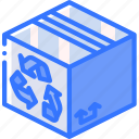 box, isometric, shipping, recycled, packing, iso icon