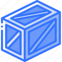 braced, crate, iso, isometric, packing, shipping icon