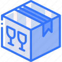 box, fragile, iso, isometric, packing, shipping icon