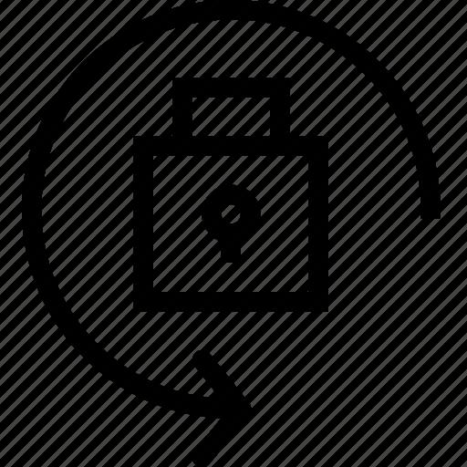 arrow, circle, locked, padlock icon