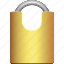 brass, lock, medium, padlock, protection, secure, security icon