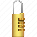 brass, lock, locked, password, secure, security icon