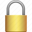 brass, lock, padlock, protection, secure, security, small icon