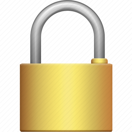 big, brass, lock, locked, padlock, secure, security icon