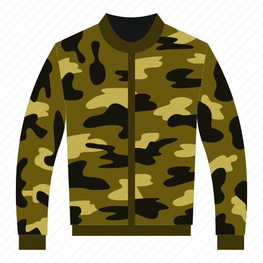 apparel, camouflage, casual, cloth, clothing, cotton, jacket icon