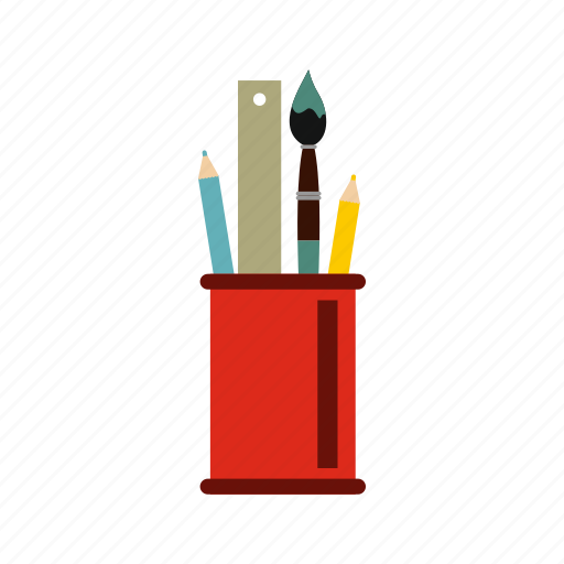 brush, cup, education, office, pen, pencil, school icon